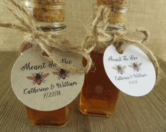 Vintage Style Honey Bottles With Corks And Personalized Meant To Bee Design Tags