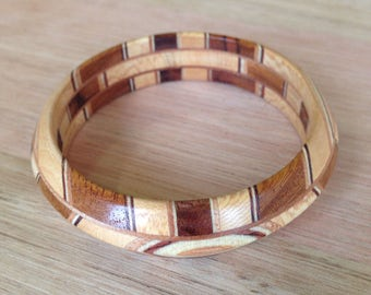 Wooden bangle laminated timber. One of a kind. Timber Bangle, wooden bracelet.