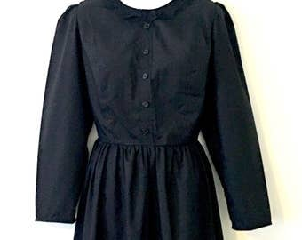 Memento Mori Gothic Black Mourning Dress w Lace Collar ~ Size AU16 US14 ~ Victorian Lolita Kei Vintage