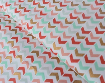Herringbone Chevron Fabric in Coral, Gold and Mint - Brother Sister Design Studio