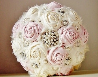 Brooch Wedding Bouquet Vintage Bridal Fabric Flower