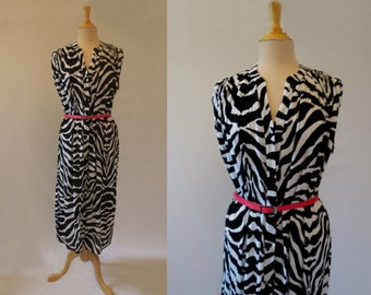 Merivale Zebra Print Dress - 1970s