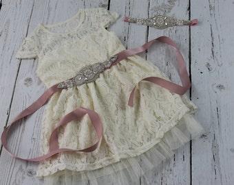 Blush Flower Girl Dress Rustic Flower Girl Rhinestone Blush Sash Headband Ivory Vintage Flower Girl Dress Ivory Jr Bridesmaid Dress