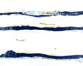"Painting Wall Art Canvas Navy White Gold ""Mod Undercurrent"" Original and Canvas Prints Modern Minimalist Abstract Expressionism Wall Art"