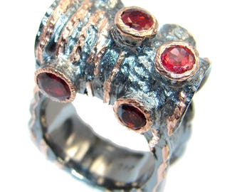 Garnet Sterling Silver Ring - weight 16.80g - Size 9 3 4 - dim L - 5 8, W - 1, T - 1 4 inch - code 3-sty-17-17