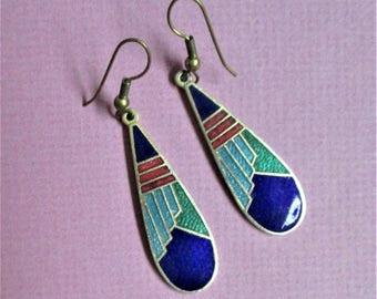 Abstract Geometric Vintage Cloisonne Teardrop Pierced Earrings Royal Blue Turquoise  Enamel Gold Vintage Jewelry Ear Hooks Gift for Women