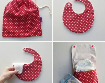 Changing bag organizer: Diaper pouch + laundry bag + bib