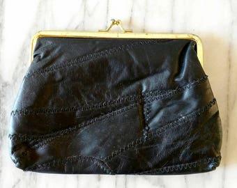 Vintage Black Leather Patchwork Make Up Bag or Clutch