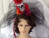 Half Off Sale Day of the Dead Veil, Dia de los Muertos, Halloween Costume, Accessory, Sugar Skull Headband, Flower Crown, Goth Veil