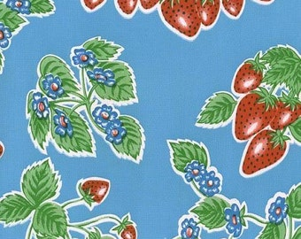 sewing fabric Oilcloth Strawberries Blue 1 yrd