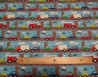 Blue Vertical Vehicle/Truck/Car/Road Flannel Fabric by the Yard