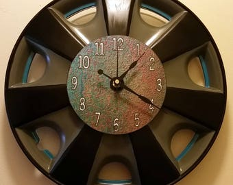 """UpCycled Hubcap Clock 15"""" Diameter Finished With Numbers."""