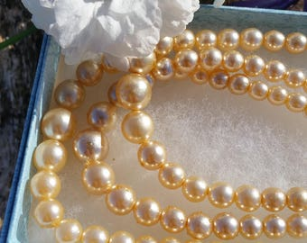 Vintage Glass Pearls with Drop Earrings