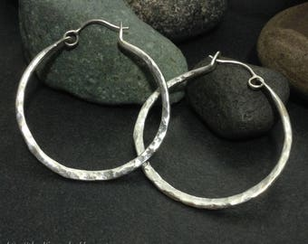 Hoop earrings, handmade hammered & textured sterling silver, lightweight simple classic boho design, medium large size, hinged ear wire