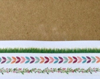 SALE Slim Washi Tape Set of Three 'Garlands and Grass'  7mm x 5 meters
