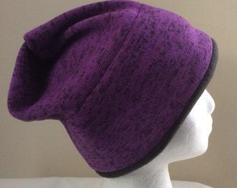 Purple slouch hat, slouch cap