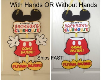 Mickey Mouse Birthday Door Sign, Mickey Mouse 1st Birthday, Party Decoration, Mickey Mouse Clubhouse Party by FeistyFarmersWife