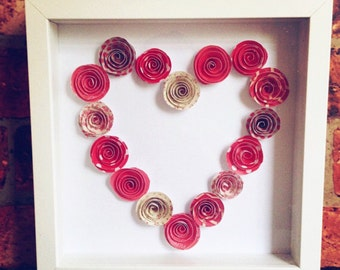 Paper flower frame | 1st anniversary | paper gift  | anniversary gift | wedding gift | Valentine's Day | hearts and flowers  | love