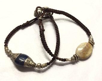 Karen Silver and Crystal ( Lapis Lazuli / Coral ) Bracelet