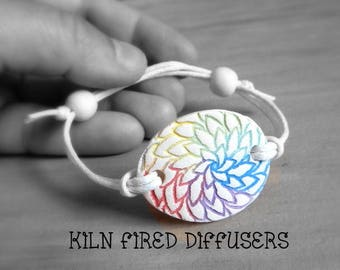 Seven Chakra Colors Essential Oil Clay Diffuser Bracelet Floral Rainbow Aromatherapy Natural Aroma Scent Hypoallergenic Meditation Jewelry