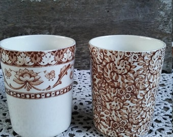 Set of 2 Bathroom Cups, Brown Floral, Paisley, Kent Fenton England, Dominion, English Transferware, Childs Cups, Bathroom Cups