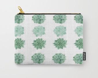Succulent Pouch, cactus pouch, makeup bag, pencil pouch, cactus bag, succulent bag, cosmetic pouch, white pouch, green pouch