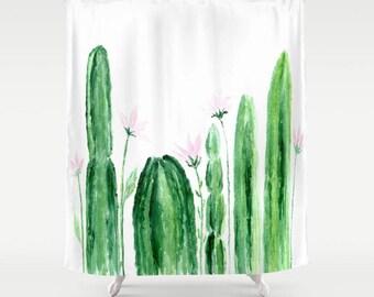 Floral Cactus Shower Curtain, cactus shower, cactus curtain, floral shower curtain, floral cactus shower, floral cactus curtain, flowers