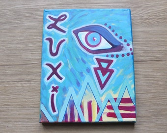 "Abstract LUXI Eye Painting // 8 x 10"" Acrylic on Canvas"