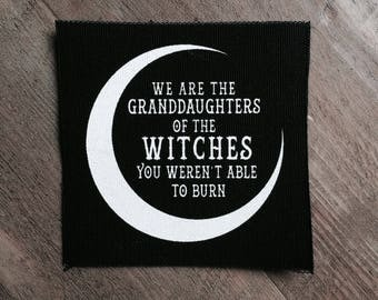 "Screen printed  sew on canvas patch • black and white • We are the granddaughters"" small patch"