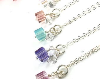 Sterling Silver Crystal Cube Necklace - Crystal - Cube Necklace - Mothers Day Gift