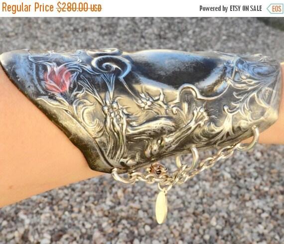 SALE 40% OFF Antique Silver Dragon Repousse Wide Cuff Bracelet Bracer Chivalry Spartan Gladiator Medieval Art Nouveau Chinese Angel Cherub P
