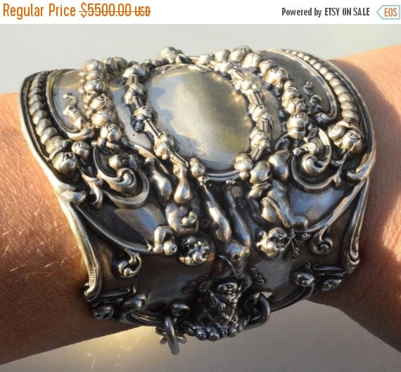 SALE 40% OFF Antique Victorian Cherub Angel Art Nouveau Tiffany Solid Sterling Silver 925 .925 Wide Cuff Bracelet Statement Cupid Putti Baro