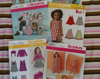 Uncut Girl's Clothing and Toys Sewing Patterns Lot of 7