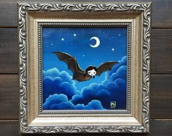 "Original painting, ""Night Flight"" pop surrealism, weird art, surreal art, bat painting, animal, night sky, dreamy art, bat girl"