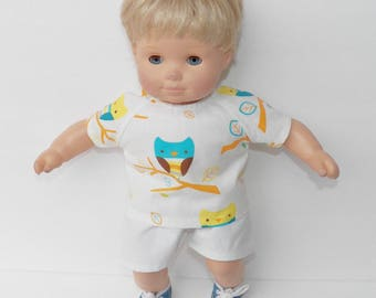 "bitty baby clothes, doll boy, twin, 15"" off white, yellow, turquoise orange, owl, shirt, shorts, spring summer, handmade adorabledolldesigns"