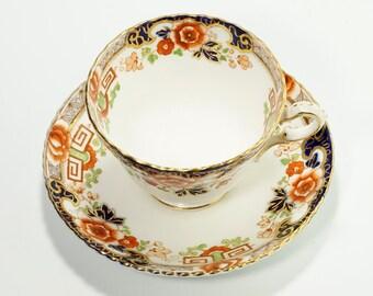 Radfords Bone China, English Tea Cup, Radfords Tea Cup, Radfords Fenton England Floral and Greek Key Bone China Cup & Saucer #974