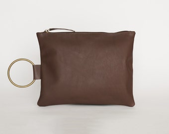 Brown Leather Clutch, Soft Leather Wristlet Purse, Evening Clutch Bag, Handmade Leather Purse with Bracelet Handle, Brown Leather Purse