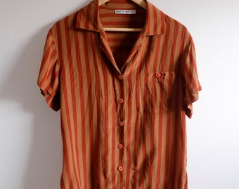 Vintage Vertical Striped Short Sleeve Silk Blouse // Oxblood and Bronze Shirt