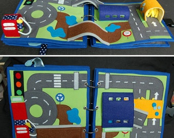 2 Quiet book pages - Car and Traffic roads PATTERN & TUTORIAL