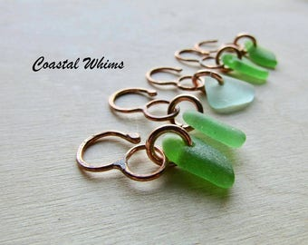 Seaglass Stitch Markers, Crochet Markers, Crochet Tools, Gift for Crocheters, Snag Free Markers, Copper Stitch Markers, Sea Glass Marker Set