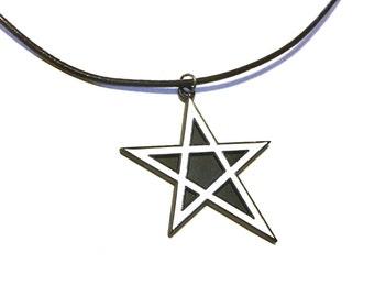 Black star pendant necklace goth gothic five stars halloween dark handmade