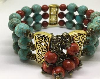 Bohemian influenced Cuff Bracelet.