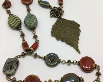 Bronze Porcelain Beaded Necklace.