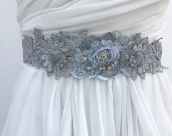 Beaded Lace Bridal Sash, Wedding Sash In Blue Grey With Crystals And Pearls, Wedding Dress Sash, Flower Sash, Bridal Belt