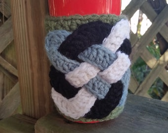 Travel Mug Cozy Coffee Sleeve Crochet Applique Celtic Knot