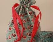 Medium drawstring project bag birdcages
