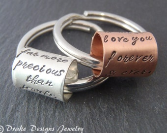 Personalized Mens anniversary. women's best friend key chain custom hand stamped message. Girlfriend or boyfriend keychain