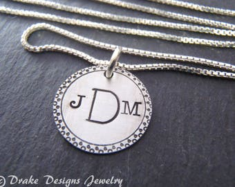 Monogram necklace Sterling silver hand stamped custom initial