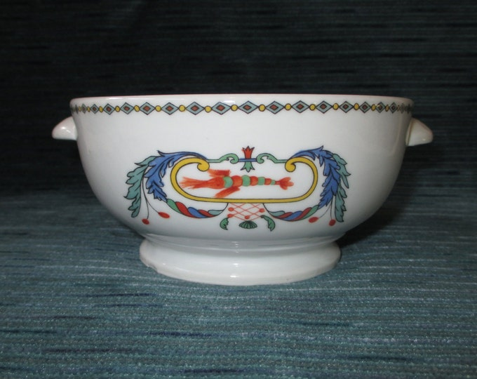 """5-3/8"""" Porcelaine de Paris PAVOT """"Poppy"""" Lug Handle Soup Bowl (c. 1970s)"""