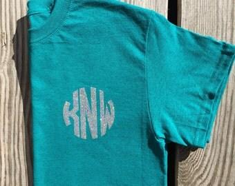 Monogram t-shirt, monogrammed shirt, monogrammed gift, childrens, womens, ladies, girls, youth, personalized shirt, glitter monogram